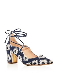 Rupert Sanderson Poet Ikat Lace Up Pointed Toe Pumps Blue White