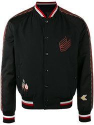 Lanvin Embroidered Bomber Jacket Black