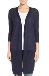 Women's Halogen Long Linen Blend Cardigan Navy Peacoat