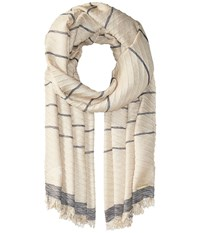 Michael Michael Kors Pleated Metallic Yarn Dyed Scarf Hemp Hemp Navy Scarves Beige