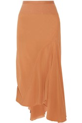Rick Owens Pleated Silk Crepe De Chine Skirt Camel