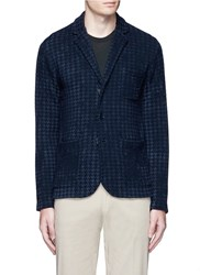 Altea Boucle Houndstooth Knit Soft Blazer Blue