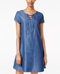 As U Wish Juniors' Lace Up Denim Swing Dress Pure Blue