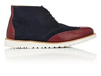 Emporio Armani Suede And Leather Wingtip Chukka Boots Navy Burg
