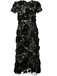 Marchesa Flower Embellished Flared Dress Black