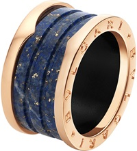 Bulgari B.Zero1 Four Band 18Ct Pink Gold And Blue Marble Ring