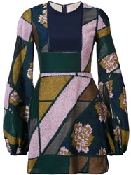 Roksanda Ilincic Bell Sleeve Patchwork Dress Blue