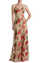 Dress The Population Women's 'Florence' Embroidered Woven Gown Nude Red