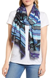 Rebecca Minkoff Mixed Floral Stripe Scarf Black
