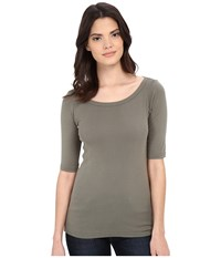 Michael Stars Supima Elbow Sleeve Wide Scoop Olive Moss Women's Long Sleeve Pullover