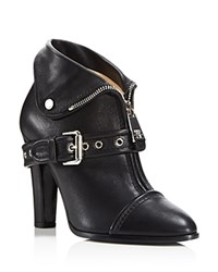 Moschino Moto Leather Jacket High Heel Booties Black
