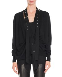 Givenchy Knit Buckle Shoulder Cardigan Black