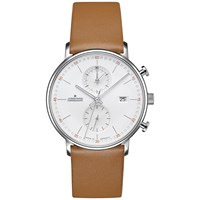 Junghans 041 4774.00 Men's Form Chronograph Date Leather Strap Watch Camel White