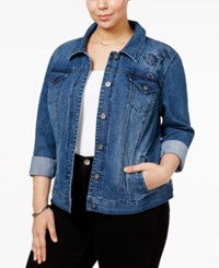 Style And Co Plus Size Embroidered Denim Jacket Only At Macy's Camino