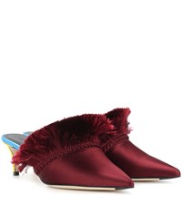 Marco De Vincenzo Satin Mules Red