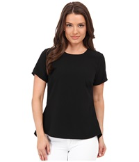 Michael Michael Kors Petite Shirt W Back Peplum Black Women's Short Sleeve Pullover