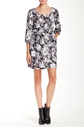 Daniel Rainn 3 4 Length Sleeve Floral Dress Black