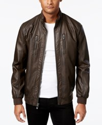 Calvin Klein Men's Faux Leather Bomber Jacket Blackend Brown