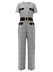Gucci Prince Of Wales Checked Twill Jumpsuit Grey Multi