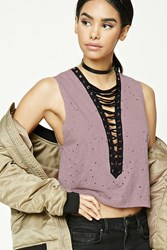 Forever 21 Distressed Strappy Crop Top