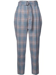 Akris Punto Checked High Waisted Trousers Blue