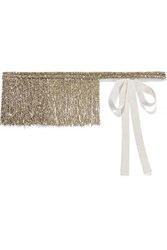 Dries Van Noten Fringed Beaded Silk Grosgrain Belt Gold
