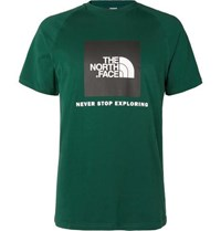 The North Face Logo Print Cotton Jersey T Shirt Green