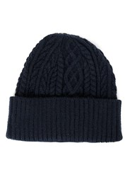 Topman Blue Navy Textured Classic Fit Beanie Hat