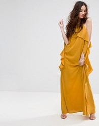 Missguided Ruffle Sleeve Cold Shoulder Maxi Dress Mustard Yellow