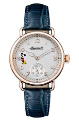 Ingersoll Watches 'S Trenton Disney Leather Strap Watch 31Mm Blue White Rose Gold