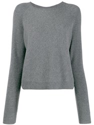N.Peal Cropped Knitted Jumper Grey