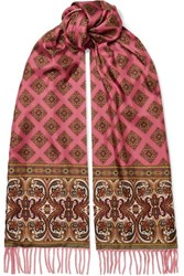 Etro Fringed Paisley Print Cashmere And Silk Twill Scarf Red