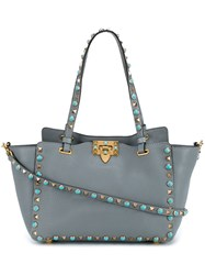 Valentino 'Rockstud Rolling' Trapeze Tote Grey