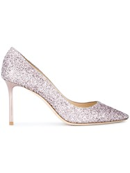 Jimmy Choo Romy 85 Glitter Pumps Women Leather Sequin 38 Pink Purple