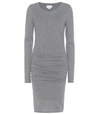 Velvet Yurel Ruched Cotton Blend Jersey Dress Grey