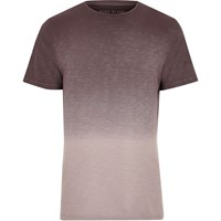 River Island Mens Purple Dip Dye Longline T Shirt
