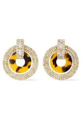 Elizabeth Cole Woman 24 Karat Gold Plated Crystal And Tortoiseshell Print Acetate Earrings Gold