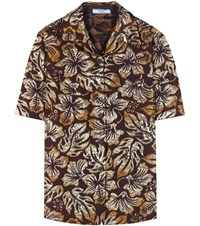 Prada Metallic Cloque Jacquard Shirt Brown
