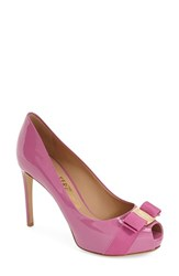 Women's Salvatore Ferragamo 'Plum' Peep Toe Patent Leather Pump Pink Patent