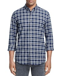 Scotch And Soda Brushed Cotton Plaid Slim Fit Button Down Shirt Navy