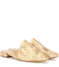 Tory Burch Carlotta Brocade Mules Gold