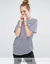 Reclaimed Vintage Stripe Breton Tee With Merci Heart Patch Blue
