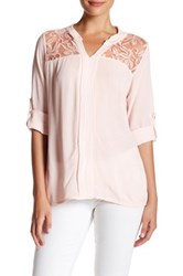 Luma Lace Yoke Long Sleeve Blouse Pink