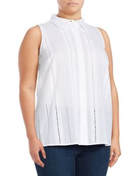 Vince Camuto Plus Button Down High Low Eyelet Blouse White
