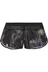 Monreal London Jersey Trimmed Printed Shell Shorts Black