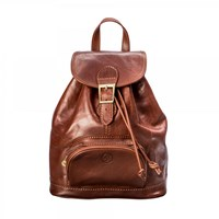 Maxwell Scott Bags Luxury Italian Leather Women's Rucksack Sparano Chestnut Tan Brown