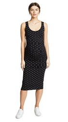 Ingrid And Isabel Side Shirred Midi Dress Jet Black Arrow Print