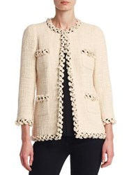 Edward Achour Hip Length Tweed Jacket Ecru