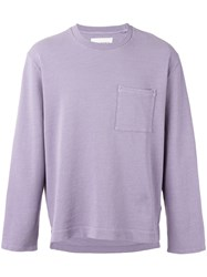 Our Legacy Patch Pocket Sweatshirt Men Cotton Linen Flax L Pink Purple