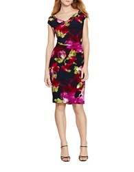 Lauren Ralph Lauren Floral Cowlneck Dress Navy Berry Multi